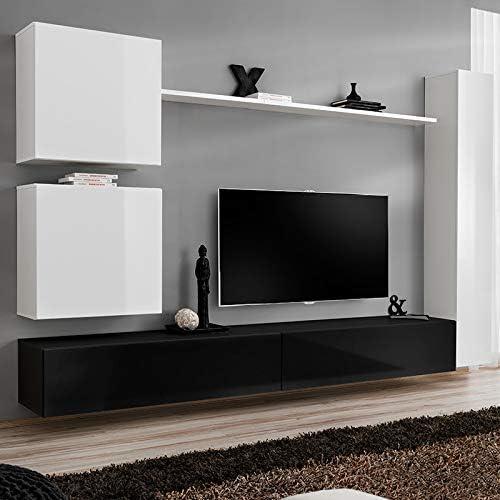 Noveomeuble pared TV pared blanco y negro LATIANO: Amazon.es: Hogar