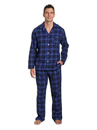 Noble Mount Men's 100% Cotton Flannel Pajama Set - Plaid Blue-Navy - Medium - Navy Plaid Flannel Pajama