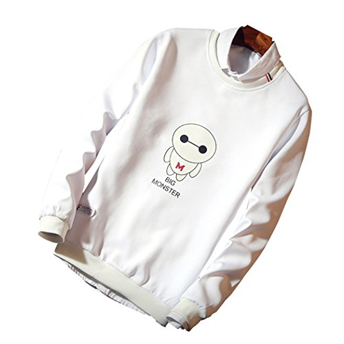 Real Spark(TM) Men Casual Baymax Cartoon Printed Long Sleeve Crewneck Pullover Sweatshirts White L