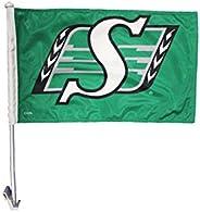 """Saskatchewan ROUGHRIDERS CFL Logo Heavy Duty Car Flag 12""""X 18"""" with"""