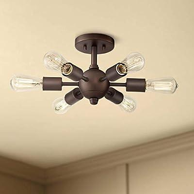 "Bestla Mid Century Modern Ceiling Light Semi Flush Mount Fixture Oil Rubbed Bronze 13"" Wide 6-Light Sputnik Style for Bedroom Kitchen Living Room Hallway Bathroom - Possini Euro Design"