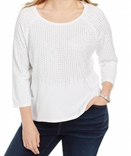 INC Womens Plus Studded Boatneck Pullover Top White 1X