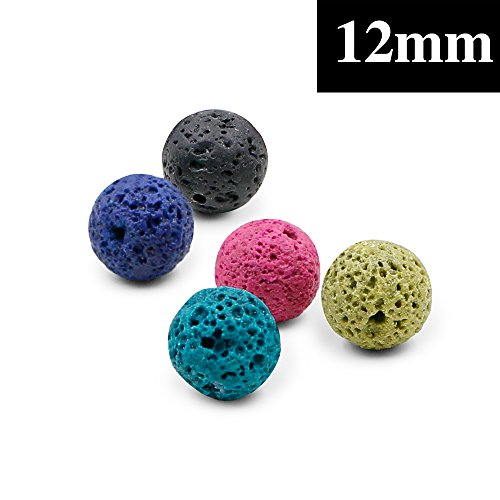 MUSTUS Multi-colored Lava Stone Rock Beads for Aromatherapy Essential Oil Diffuser Necklace