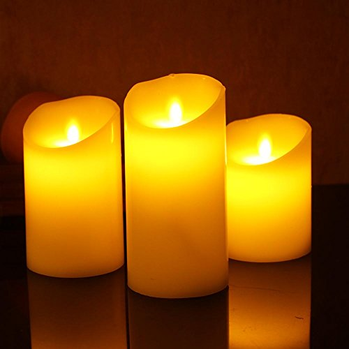 (Candle Impressions LED Battery Design Pillar Real Wax Flameless Candles w/Auto Timer Feature - Set of 3)