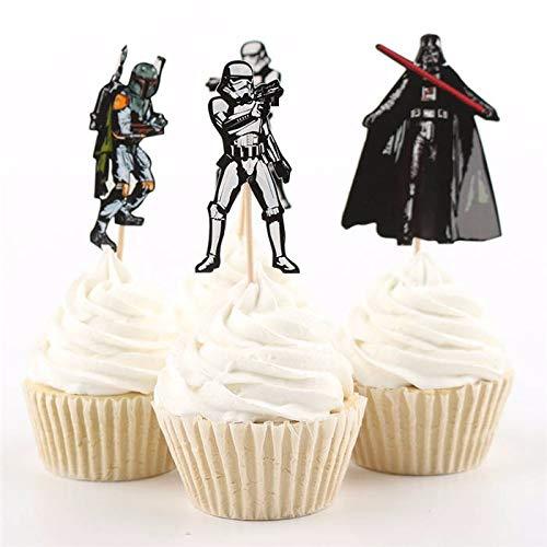 Boba Fett and Darth Vader Birthday Party Decorations Supplies Stormtrooper 24 Star Wars Cupcake Topper Picks