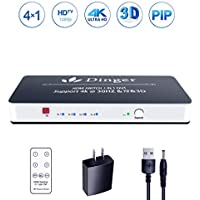 Dinger 4K x 2K 4 Port 4 x 1 HDMI Switch with PIP and IR Wireless Remote Control, HDMI Switch Box Support PIP, 4K, 1080P, 3D (4 x 1 HDMI Switch with PIP)