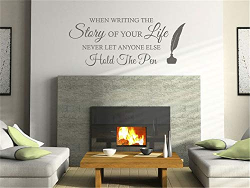 pikaaq Wall Stickers Decals Art Words Sayings Removable Lettering Lounge Wall Quote When Writing The Story of Your Life Never Let Anyone Else Hold The Pen]()