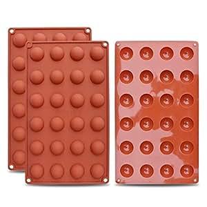 homEdge Mini molde de silicona semi-esfera de 24 cavidades, 3 paquetes de moldes para hornear para hacer chocolate, pasteles, gelatinas y mousse de cúpula: ...