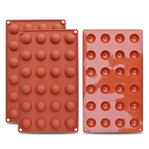 (homEdge Mini 24-Cavity Semi Sphere Silicone Mold, 3 Packs Baking Mold for Making Chocolate, Cake, Jelly, Dome Mousse)