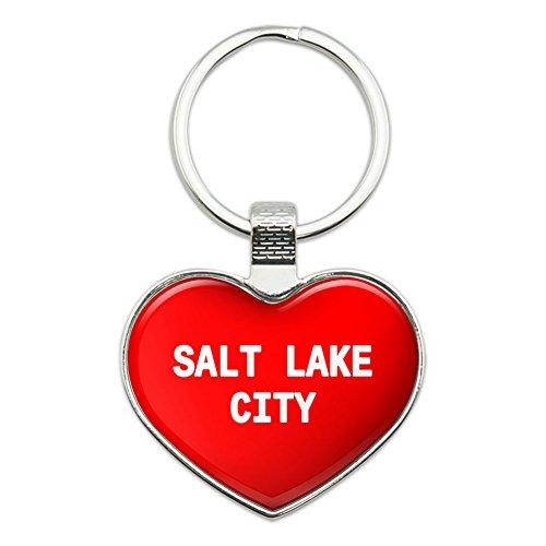 Metal Keychain Key Chain Ring I Love Heart Places S - Salt Lake - Lake Salt Place City Fashion