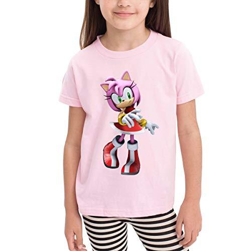 ClassicLoveU Boys Toddler T-Shirt 5/6T Girls Pink Shirt with Sonic Hedgehog 3D Amy Rose Pattern