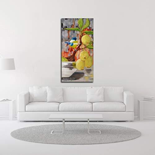 Tangletown Fine Art Chickadee with Bonsai Canvas Art 23x47 Gray, Green, Blue by Tangletown Fine Art (Image #2)