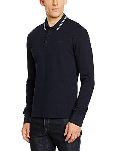 ARMANI JEANS Men's Slim Fit Long Sleeve Pique Polo Shirt, Navy, (Armani Denim Jeans)