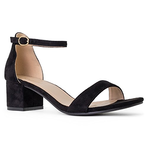 RF ROOM OF FASHION Bebe-01 Open Toe Ankle Strap Sandal - Trendy Kitten Heel Shoe - Low Block Formal Heel - Cute Low Sandal - Faux Leather Vegan Black SU (7.5)