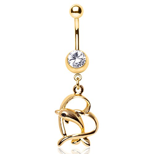 WildKlass Jewelry Leaping Dolphin and Heart Dangle Navel Ring Gold - Jewelry Navel Dangle Dolphin