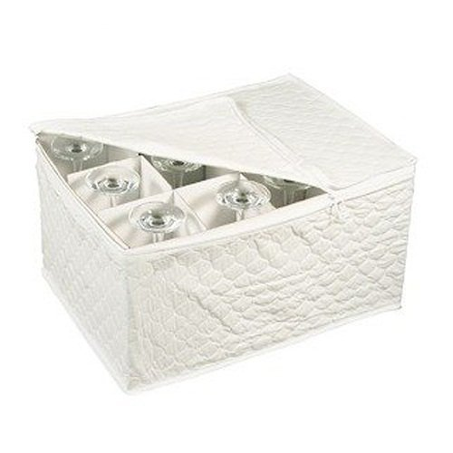 Amazon.com | Stemware Storage Chest For Up To 12 Glasses, White: Stemware  Storage Cases: Dinnerware Sets
