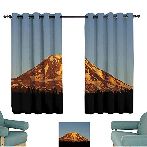 WinfreyDecor Polyester Curtain Mt Adams Fire Sunset Suitable for Bedroom Living Room Study, etc.55 Wx63 L