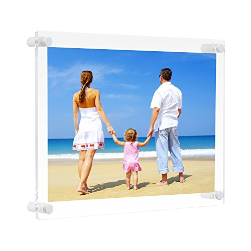 NIUBEE 8.5x14 Clear Acrylic Wall Mount Picture Frame Floating Frames for Photography Display (Legal Size)