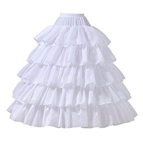 CountryWomen 6 Layers Wedding Ball Gown Petticoat Skirt 4 Hoops Slip Crinoline Underskirt Halloween Costume (M(US2-8), Color5)
