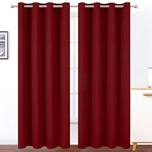 Lemomo Burgundy Red Bedroom Blackout Curtains/52 x 84 Inch Long/Set of 2 Panels Room Darkening Thermal Insulated Living Room Curtains For Sale
