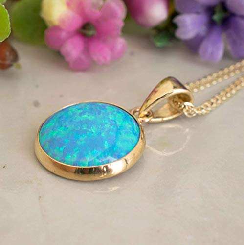 (14K Gold Blue Opal Necklace - 14K Solid Yellow Gold Dainty Pendant with October Birthstone, Simple 12mm Large Size Round Opal Gemstone - Delicate Handmade Jewelry for Classy Women)