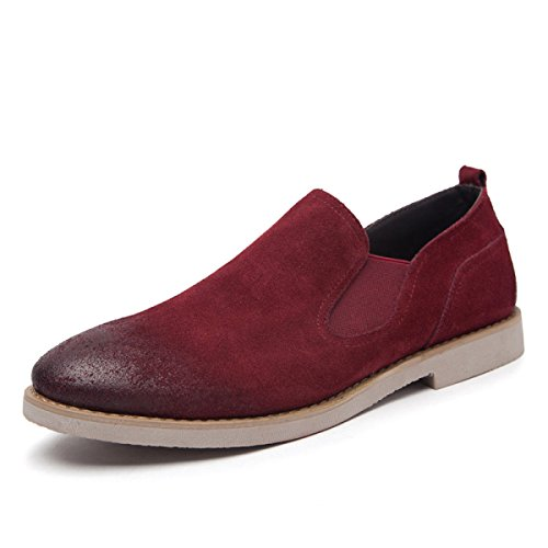 LYZGF Hommes Jeunes Printemps Été Mode Casual Paresseux Chaussures En Cuir Simples Red Vg32s