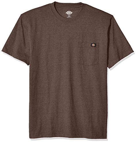 Dickies Men's Short Sleeve Heavyweight Heathered Crew Neck Tee, Chocolate Brown Single Dye, S