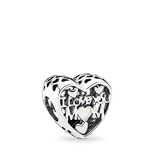 PANDORA Love For Mother Charm, Silver Enamel, Sterling Silver, One Size (Mom Charm Bead)