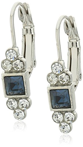 1928 Jewelry Square with Clear Crystal Accent Petite Drop Earrings