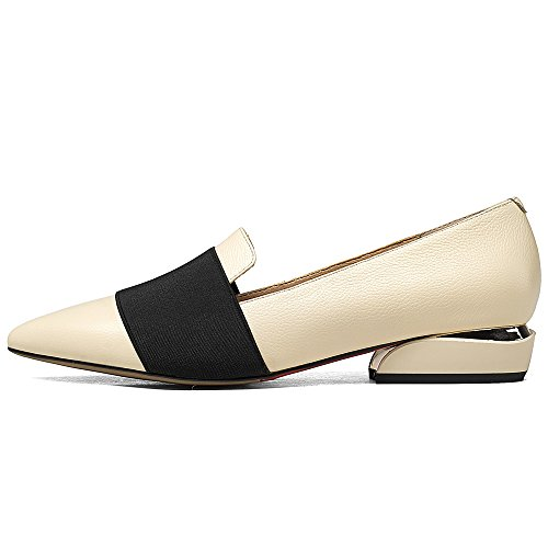 Nine Shoes Heel On Flats Slip Low Women's Pumps Pointed Business Dress Seven Handmade Toe apricot Leather rwxnRqB1r