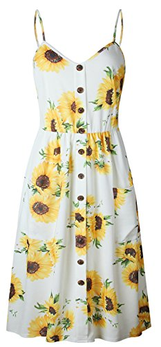 ETCYY Women's Halter Backless Floral Button Casual Summer Midi Dress With Pockets