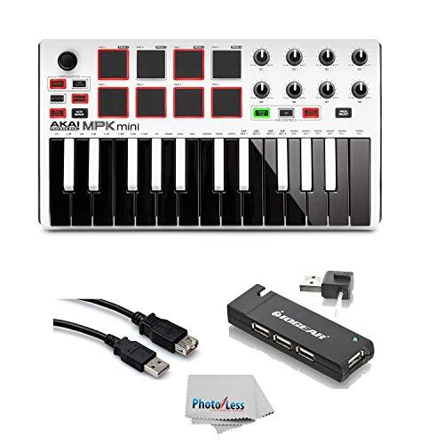 Akai Professional MPK MINI MK2 MKII | 25-Key Ultra-Portable USB MIDI Drum Pad & Keyboard Controller (White)+ 4-Port USB 2.0 Hub + High Speed USB Extension Cable + Clean Cloth