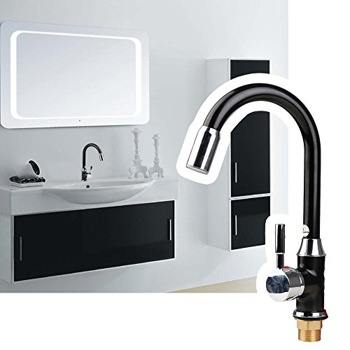 YISUN Colorful LED Water Faucet,Hot and Cold Mixer Single Handle Ceramic Valve Brass Spout Kitchen Sink Faucet,3 Changes Color Depending on the Water's Temperature for Kitchen and Bathroms