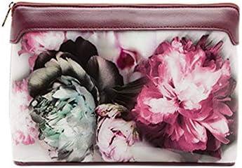 トイレタリーバッグ化粧品袋 レディースファッション植物の花は、ポータブルクラッチバッグウォッシュバッグコスメティックバッグを印刷します シェービングキットオーガナイザーバッグ (色 : A, Size : 24cm)