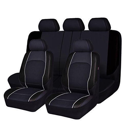 NEW ARRIVAL -HORSE KONGDOM Universal Car Seat Covers Black For Men,Boys,Car, Truck Suvs, Sedans,Faux Leather With Air-mesh Breathable Aibag Compatible (full black) (Men Seat Covers For Cars)