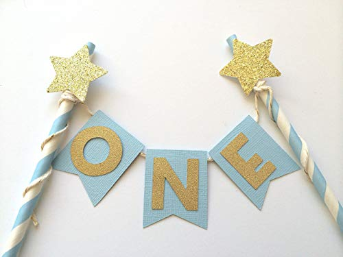 (Light Blue and Gold Glitter First Birthday Star Cake Topper. Twinkle Twinkle Little Star Glitter Party Decoration. ONE Cake)