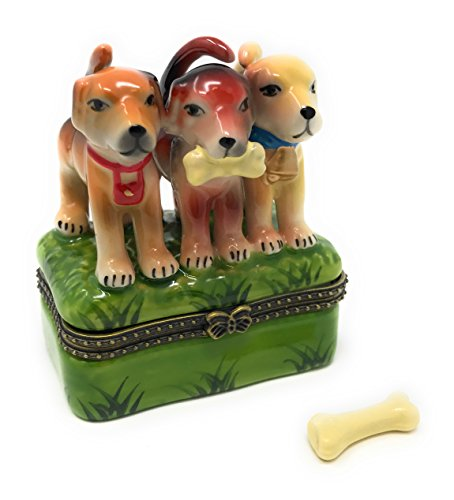 3 Hound Dog Puppies Porcelain Hinged Trinket Box with Tiny Trinket Inside, 2.5 Inches Wide