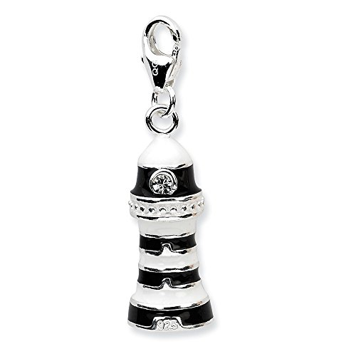 (925 Sterling Silver Rh 3 D Enameled Lighthouse Lobster Clasp Pendant Charm Necklace Sea Shore Fine Jewelry Gifts For Women For Her)