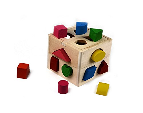 Andesan Cube Square Sorter Shape-Sorting Toy Building Blocks For Kids Early Learning