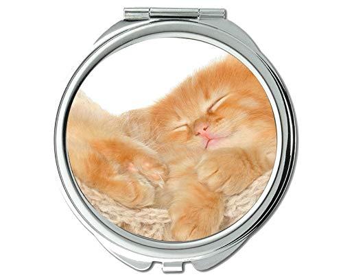 Pocket Mirror,Fluffy Hammock Kitten Animal Cute Cat mirror for Men/Women,1 X 2X Magnifying