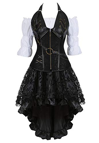 Grebrafan Pirate Corset Dress 3 Piece Halloween Costume Bustiers Skirt Blouse Set (US(4-6) S, Black)