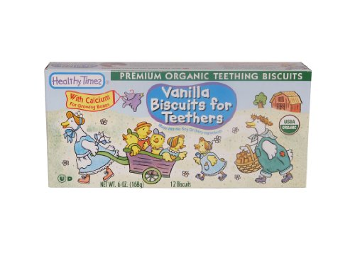 Healthy Times Organic Teething Biscuits, Vanilla, 6 Ounce (Pack of 12)