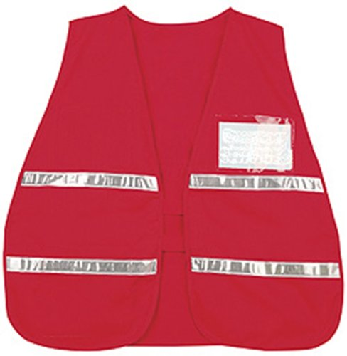 River City CICV204 Incident Command Safety Vests, Red with Silver Stripes and Clear Pocket (Safety Vest Vinyl)