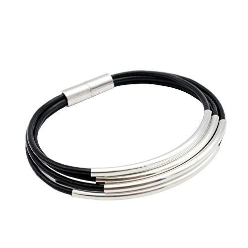 - shapesbyX Black Bracelet for Women Girl Handmade Leather Magnetic Bracelet with Silver Charm Tube Strands Threaded