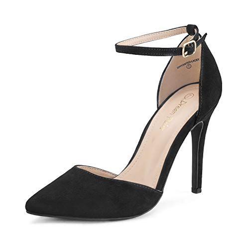 DREAM PAIRS Women's Oppointed-Lacey Black Suede Fashion Dress High Heel Pointed Toe Wedding Pumps Shoes Size 6 M US