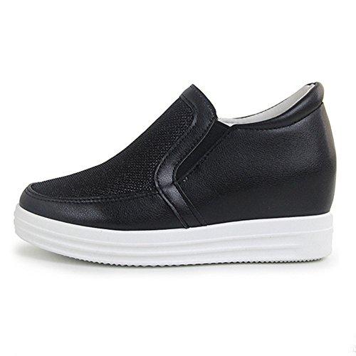 Btrada Wedge Mocassins Occasionnels Avec Élastique Latéral Maille Mode Sport Sneaker Pour Les Femmes Noires
