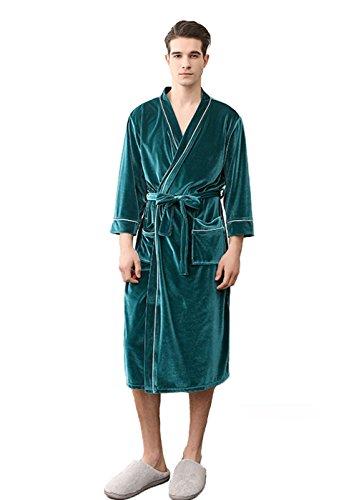 CheerLin Velvet Fleece Bathrobe Knee Length with Pocket Men Kimono Robe Green XS 1801