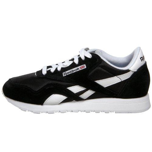 Para Nylon Zapatillas Mujer Running Reebok Classic black De White Negro aqw6XZ