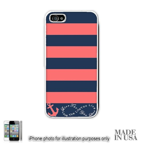Anchor Live the Life You Love Infinity Quote - Navy Coral Nautical Stripped with Anchor iPhone 5 5S Case - WHITE RUBBER by Unique Design Gifts [MADE IN USA]