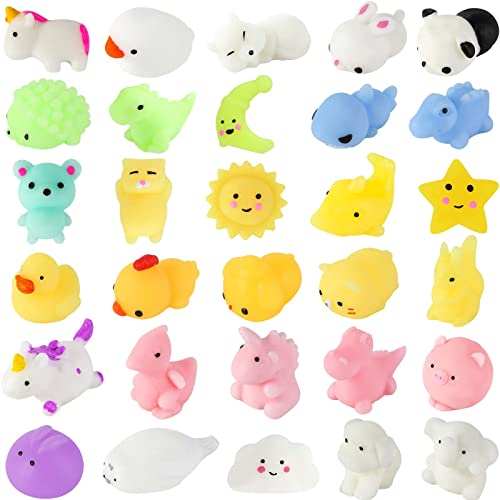 LovesTown 30 PCS Mochi Squishy Toys, Mini Animal Squeeze Toys Kids Mini Kawaii Stuff Stress Anxiety Relief Toys for Goodie Bag Class Prize